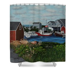 Peggy's Cove Shower Curtain by Lisa MacDonald