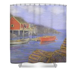 Peggy's Cove Lobster Pots Shower Curtain by Ian  MacDonald