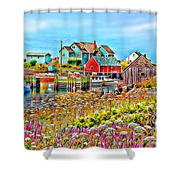Peggy's Cove Wildflower Harbour Shower Curtain