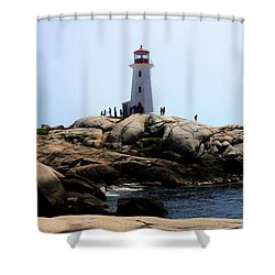 Peggys Light House Relfection  Shower Curtain