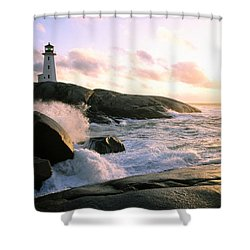 Peggy's Point Lighthouse, Canada, Nova Scotia, Peggy's Cove Shower Curtain