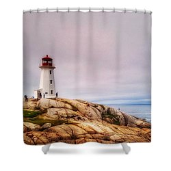 Peggys Point Lighthouse Shower Curtain