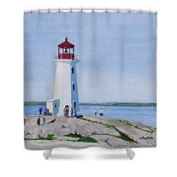 Peggy's Point Lighthouse Shower Curtain by Mike Robles