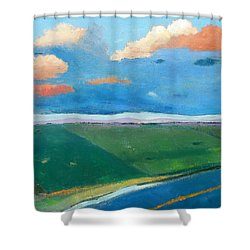 Shower Curtain featuring the painting Peggy's Road by Gary Coleman