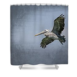 Shower Curtain featuring the photograph Pelican Flight by Carolyn Marshall