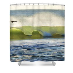 Pelican Flying Over Wind Wave Shower Curtain