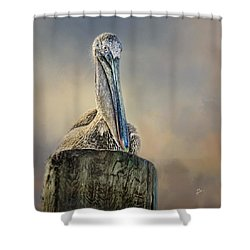 Pelican In Paradise Squared Shower Curtain