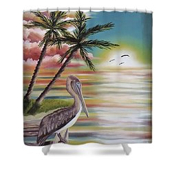 Pelican Sunset Shower Curtain by Dianna Lewis