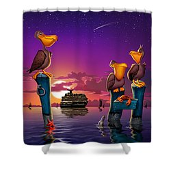 Pelican Sunset Whimsical Cartoon Tropical Birds Florida Seascape - Square Format Shower Curtain