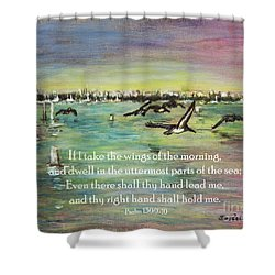 Pelicans Fly Psalm 139 Shower Curtain