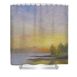 Pemaquid Beach Sunset Shower Curtain