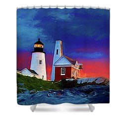 Pemaquid Lighthouse At Dawn Artistic Panorama Shower Curtain