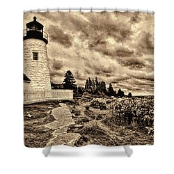 Pemaquid Point Lighthouse Stormy Autumn Day Sepia Antique Distressed Shower Curtain