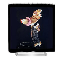 Pembroke Welsh Corgi Her Red Shoes Shower Curtain by Lyn Cook