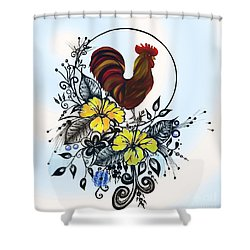 Shower Curtain featuring the drawing Pen And Ink Drawing Rooster Art Watercolor And Digital Art by Saribelle Rodriguez