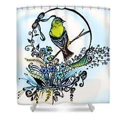 Shower Curtain featuring the drawing Pen And Ink Art, Colorful Goldfinch, Watercolor And Digital Art, Wall Art, Home Decor Design by Saribelle Rodriguez
