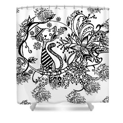Shower Curtain featuring the drawing Pen And Ink Cat Pattern Black And White by Saribelle Rodriguez