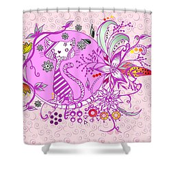 Shower Curtain featuring the drawing Pen And Ink Colorful Cat Drawing by Saribelle Rodriguez