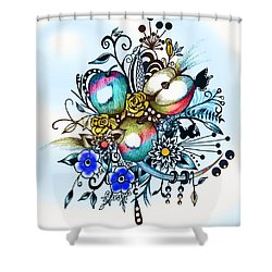 Shower Curtain featuring the drawing Pen And Ink Drawing, Colorful Apples, Watercolor And Digital Painting by Saribelle Rodriguez