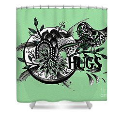Shower Curtain featuring the drawing Pen And Ink Drawing Hugs Green Art by Saribelle Rodriguez