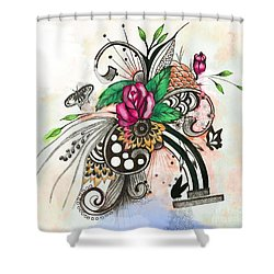 Shower Curtain featuring the drawing Pen And Ink Drawing Rose Colorful  Art by Saribelle Rodriguez