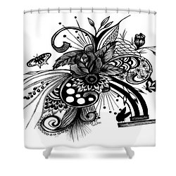 Pen And Ink Drawing Rose Shower Curtain by Saribelle Rodriguez