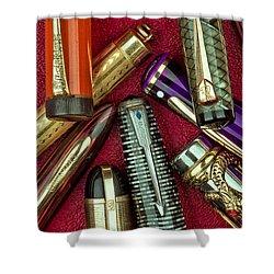 Pen Caps Still Life Shower Curtain by Tom Mc Nemar