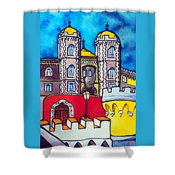 Shower Curtain featuring the painting Pena Palace In Sintra Portugal  by Dora Hathazi Mendes