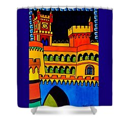 Shower Curtain featuring the painting Pena Palace Portugal by Dora Hathazi Mendes