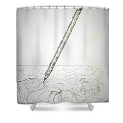 Shower Curtain featuring the drawing Pencil Drawing by Denise Fulmer