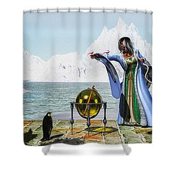 Penguin Magic And The Winter Witch Shower Curtain by Bob Orsillo