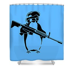 Penguin Soldier Shower Curtain by Pixel Chimp