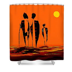 Shower Curtain featuring the painting Penman Origiinal-295-long Walk Home by Andrew Penman