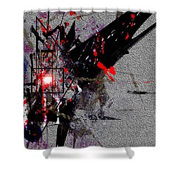 Shower Curtain featuring the painting Penman Original-230 Point Of Impact by Andrew Penman