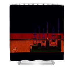 Shower Curtain featuring the painting Penman Original-271-getting Past The Obstacles by Andrew Penman