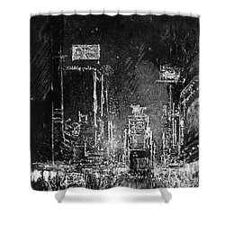 Shower Curtain featuring the drawing Pennell Broadway Towers, 1904 by Granger