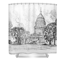 Shower Curtain featuring the drawing Pennell Capitol, 1912 by Granger
