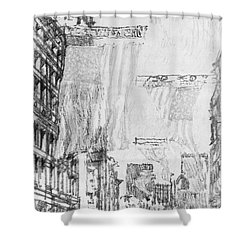 Shower Curtain featuring the drawing Pennell Flags, 1904 by Granger