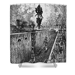 Shower Curtain featuring the drawing Pennell Gatun Lock, 1912 by Granger
