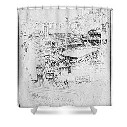 Shower Curtain featuring the drawing Pennell Polo Grounds 1921 by Granger