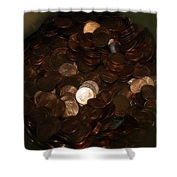 Pennies Shower Curtain by Rob Hans