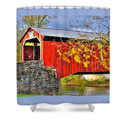 Pennsylvania Country Roads - Dellville Covered Bridge Over Sherman Creek No. 13 - Perry County Shower Curtain