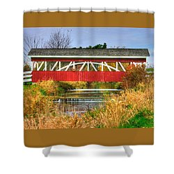 Pennsylvania Country Roads - Oregon Dairy Covered Bridge Over Shirks Run - Lancaster County Shower Curtain by Michael Mazaika
