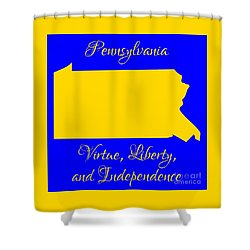 Pennsylvania Map In State Colors Blue And Gold With State Motto Virtue Liberty And Independence Shower Curtain by Rose Santuci-Sofranko