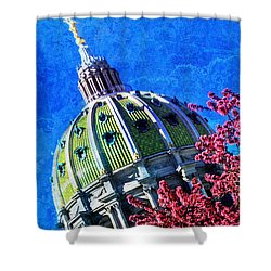 Shower Curtain featuring the photograph Pennsylvania State Capitol Dome In Bloom by Shelley Neff