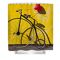 Penny Farthing Love Shower Curtain by Garry Gay