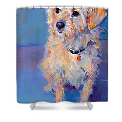 Penny Peach Shower Curtain by Kimberly Santini