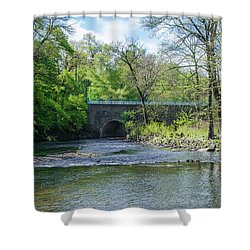 Shower Curtain featuring the photograph Pennypack Creek Bridge Built 1697 by Bill Cannon