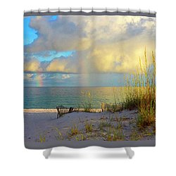 Pensacola Rainbow At Sunset Shower Curtain by Marie Hicks