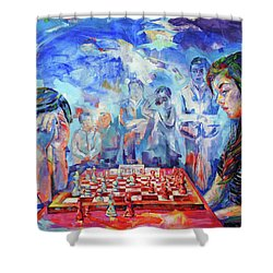 Pensamiento Flotante - Floating Mind Shower Curtain by Koro Arandia